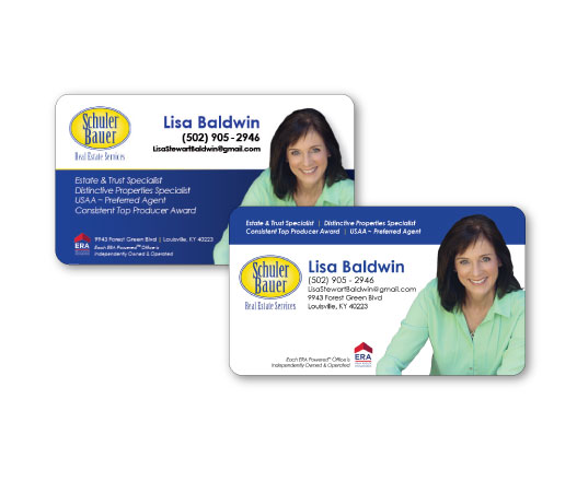 Abigail baldwin design real estate business cards the rounded corners are very popular professional business cardsese cards dispay more information than the typical card because of the many real estate colourmoves